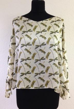 bluse shirt libelle lang arm kurze form kleiner ausschnitt gelb gruen