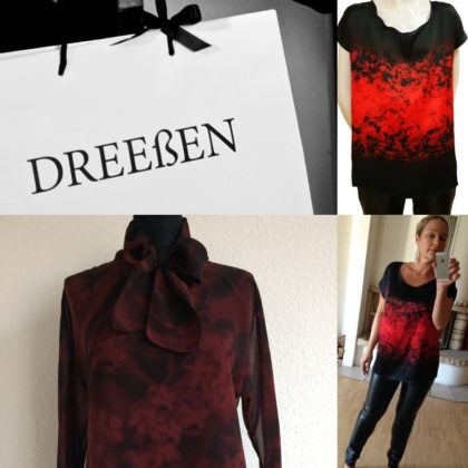 Tuete tasche einkaufstasche shirt schwarz rot seide schluppenbluse