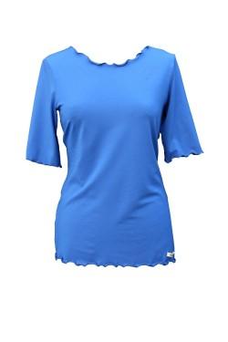 Shirt royalblau gewellte Kanten halb Arm