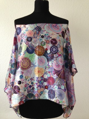 tunika shirt schulterfrei bunt ornamente kreise