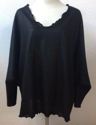 pullover schwarz glanz v-ausschnitt