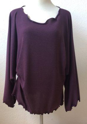 pullover weit v-ausschnitt aubergine