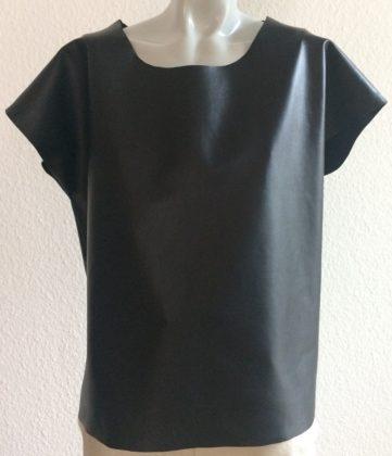 shirt schwarz glatt leder kleiner angeschnittener arm rundhals