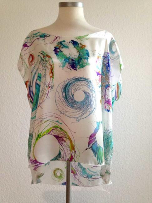 Seide Shirt überschnittener Arm lässige Form