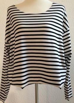 Shirt Streifen schwarz weiss kurz Oversized